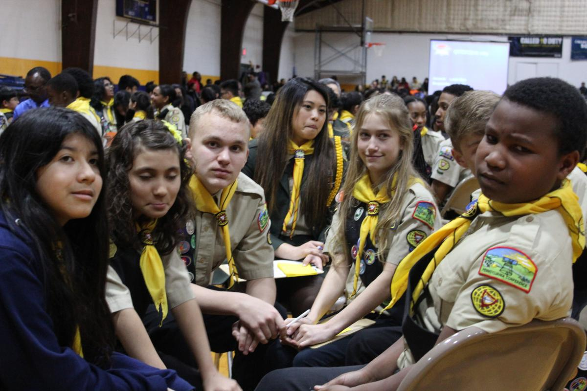 Members of the Hamburg Pathfinder club's Pathfinder Bible Experience participate in the Columbia Union PBE