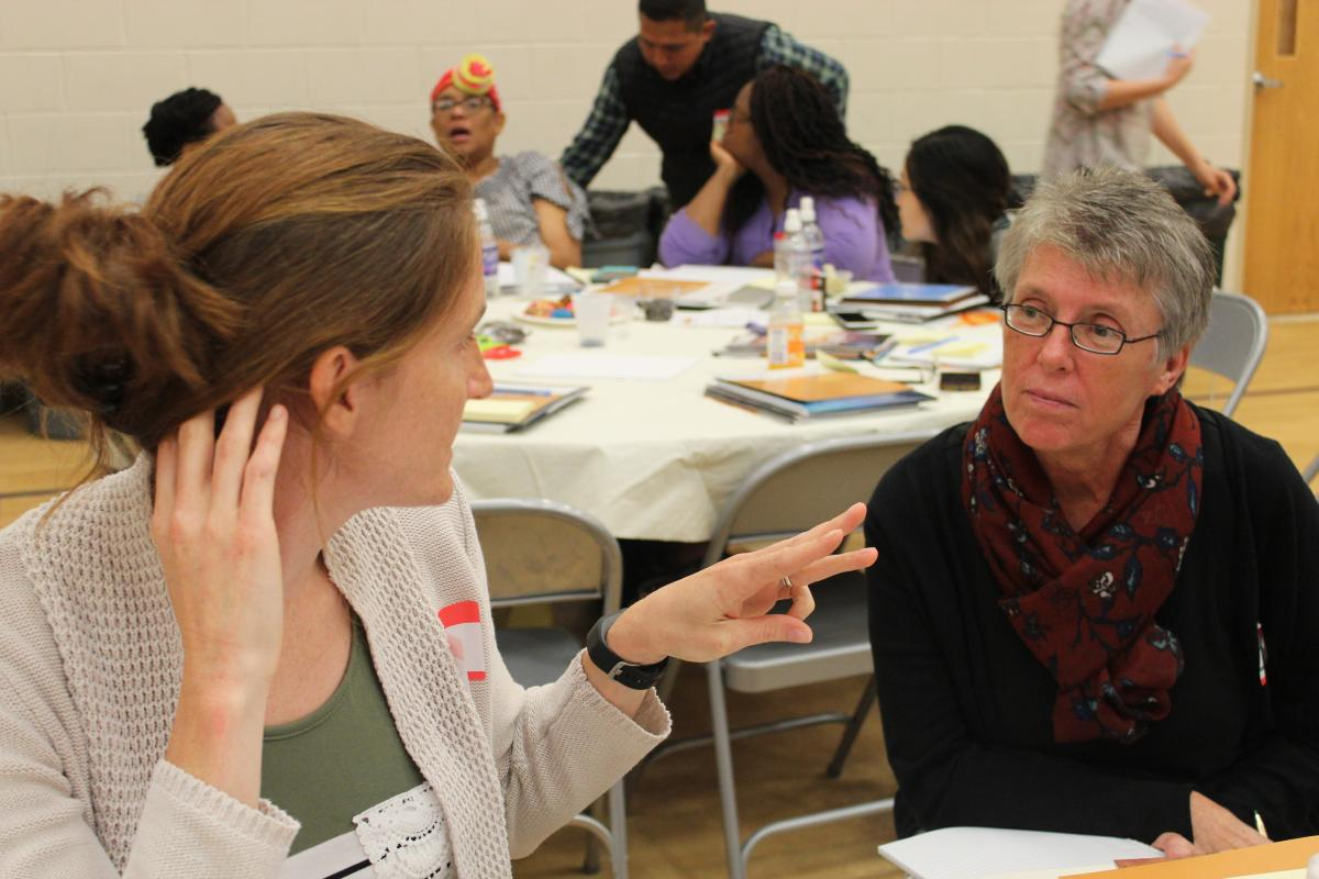 Kaisy Marschner and Deborah Wasmer participate in the Encounter Bible Curriculum training.