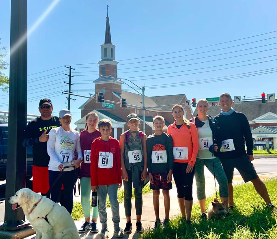 Members from Chesaeake Conference's Frederick and Spencerville churches gather after participating in the Visitor 5K