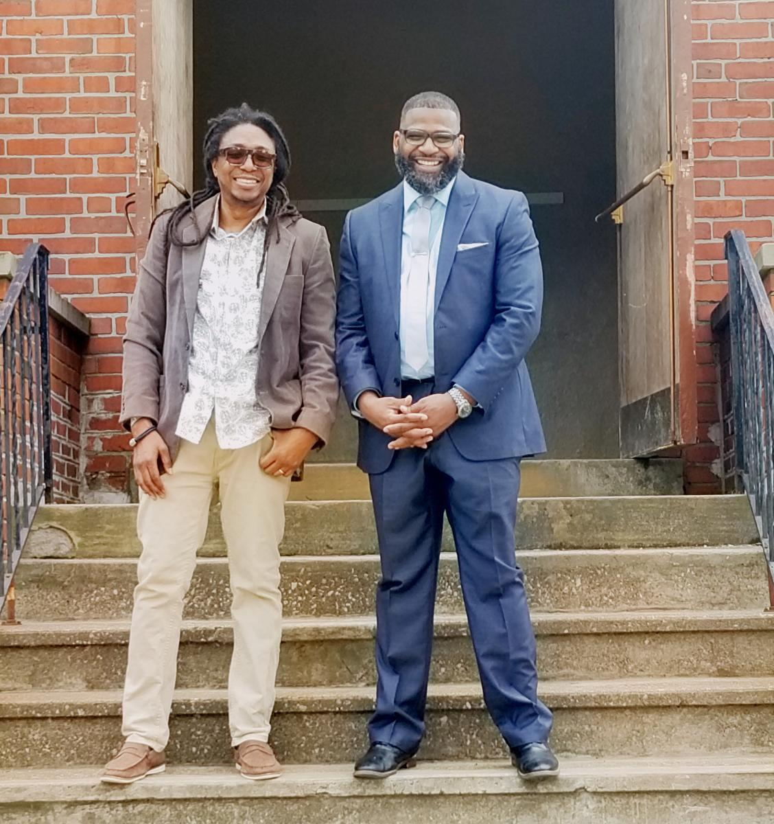 Olietunja Mann (left) and Maurice Belle, Westside church elder and pastor, respectively, lead an Adventist Recovery Ministries program.