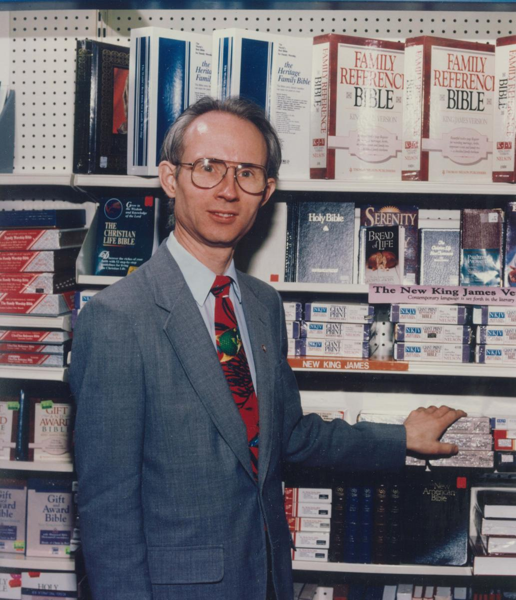 aul Glenn (circa 1990) stands by the Bible shelves in the Adventist Book Center's prior location in Takoma Park, Md.