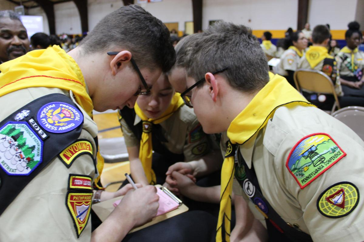 Pathfinders from the Wyoming Valley Pathfinder Club participate in the Columbia Union PBE.