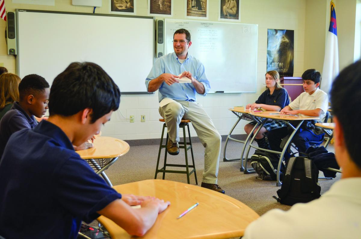 Tim Soper instructs a Sophomore Bible class at Spencerville Adventist Academy. Photo by Kelly Burler Coe.