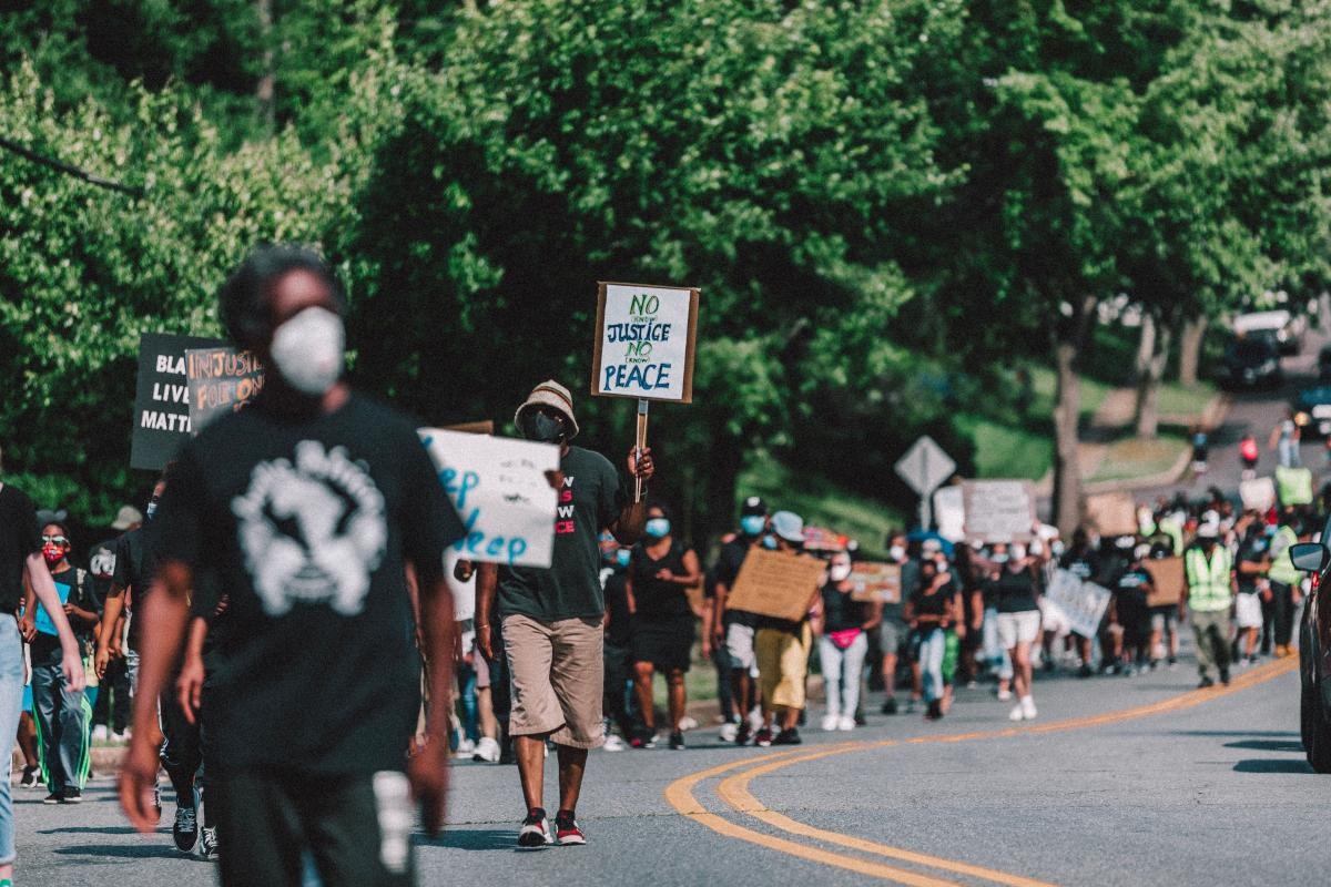 Seabrook church members marching following the death of George Floyd. Image by Peter A. Roberts