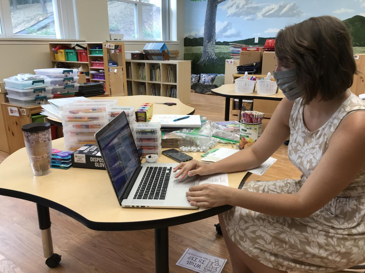 Mt. Aetna Adventist School teacher Sidney Torres prepares for the upcoming year.