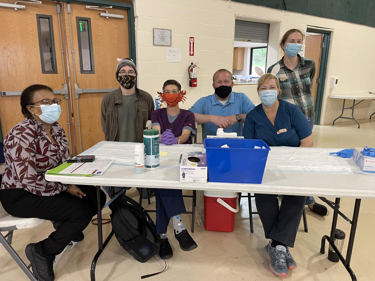 Staff and volunteers helped administer the Moderna Covid-19 Vaccine at the Baltimore White Marsh church recently.