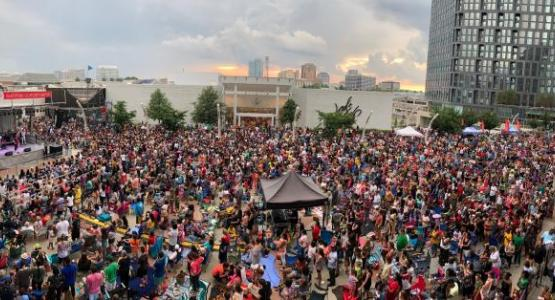 """More than 5,000 listeners and mall shoppers recently joined WGTS 91.9 on the """"2019 Ice Cream Tour"""" as they took over the Plaza at Tysons Corner Center."""
