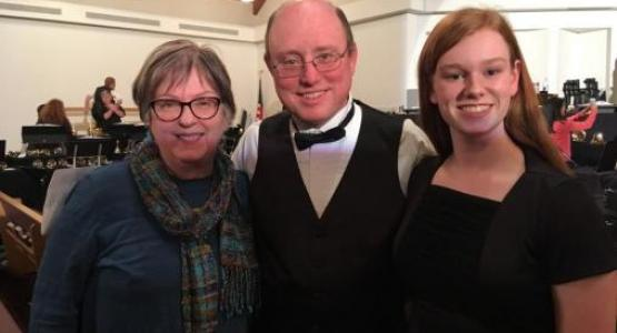 Mentor Susan Berry; RingFest founder and director William Ashley; and Alexandra Murphy, the 2019 recipi- ent of the Susan Berry Leadership in Handbells award, celebrate together.