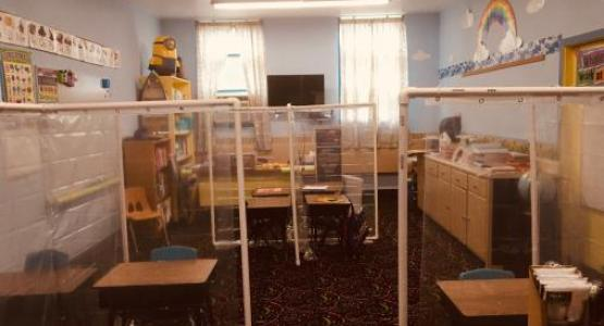A classroom at Pennsylvania Conference's Mountain View Christian School displays some of their new social distancing features.