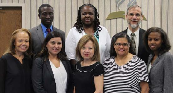 Columbia Union Executive Committee Re-Appoints Eight Employees: Back: Emmanuel Asidedu, Celeste Ryan-Blyden, Harold Geene, (front) Carol Wright, Tabita Martinez, Ileana Espinosa, Evelyn Sullivan and Tiffany Brown (Jaqueline Messenger not pictured)