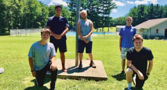 In 2020, counselors (back row) Charles Ames, Andrew Jones, Joshua Fahey, (front row) Mark Ames and Jed Williamson make a difference in the lives of campers.