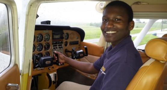 Junior David Masaka completes ground school at Blue Mountain Academy and is now beginning flight training with Training Mission Aviation.