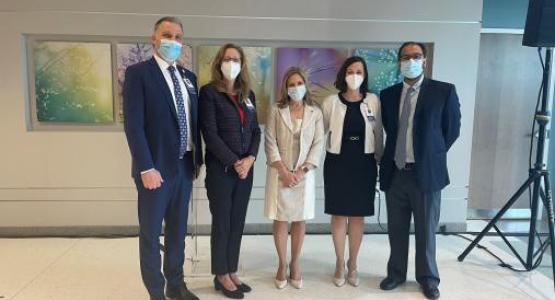 Speakers from Adventist HealthCare, The US Oncology Network and Maryland Oncology Hematology help to dedicate the new White Oak Cancer Center. From left to right: Anthony Stahl, President, Adventist HealthCare White Oak Medical Center, Mary Greenberg, Vice President, Service Lines, Adventist HealthCare, Ella Friedman, Senior Vice President, The US Oncology Network Operations, Tiffany Horvath, Director, White Oak Cancer Center, Kashif Firozvi, MD, Medical Director, White Oak Cancer Center