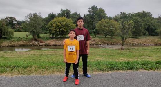 Derel and Douglas Jr. Reyes run in the Virtual 5k