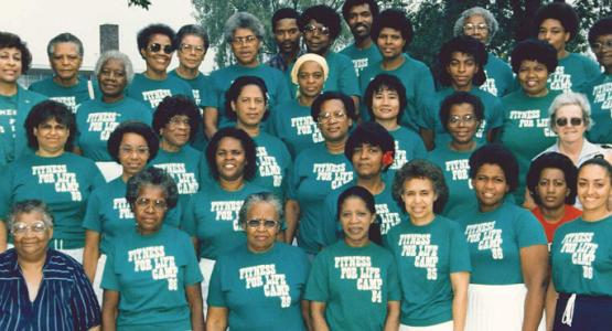 Attendees, including founder Gwen Foster (top left), gather during the early years of Fitness for Life Camp (now Fit 4 You Retreat).