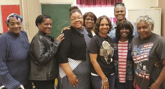 Forging ongoing friendships as a result of the Temple of Praise GriefShare support group, facilitators and community guest participants Cynthia Ball, Ericka Ruff, Kim Davis, Johanna McCall, Latrece Tramble, Clara Light, Janice Morton and Catherine Moton stand ready for their next meeting.