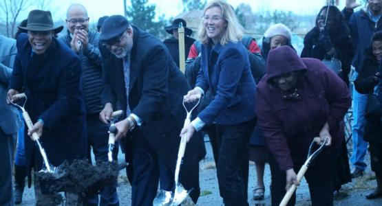 Grace Community church Pastor MyRon Edmonds, Allegheny West Conference President William T. Cox Sr., Euclid city Mayor Kirsten Holzheimer Gail and Euclid city Councilwoman Taneika Hill break ground for a new worship center in Euclid, Ohio.