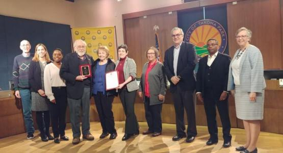 Erwin and Sylvia Mack are joined by the Takoma Park City Council