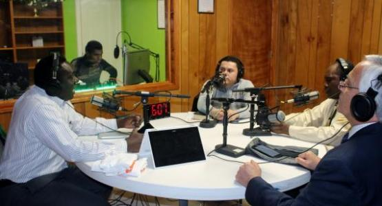 Peter Simpson, Hispanic Ministries coordinator; Ryan Simpson, technical director; Wilson Baca, pastor of the Ebenezer Spanish church in Cleveland; Winston Simpson, pastor of the First Cleveland Spanish church; and Ruben Ramos, vice president of Multilingual Ministries for the Columbia Union Conference, speak on-air during one of the many live Stereo Adventist Radio Online programs.