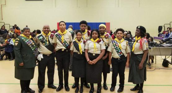 The Pisgah Scorpians from the Bryan's Road church in Maryland participate in the Allegheny East Conference Pathfinder Bible Experience