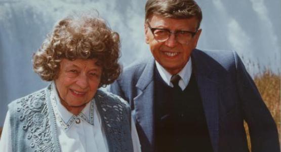 Viriginia-Gene and Harvey Rittenhouse are pictured at Victoria Falls.