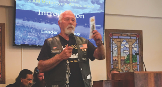 "Richard ""Cowboy"" Smith, a member of the Point Pleasant church in W.Va., shares about the Three Angels' Messengers Motorcycle Association during the special Biker Sabbath at the Toll Gate church."