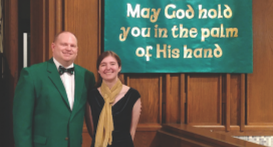 Senior Madison Cobb, pictured with Band Director Donald Huff, wrote, notated and arranged an original composition for the recent Celtic Concert.