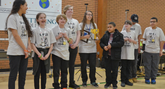 The Mansfield Seventh-day Adventist School Space Cows win the grand Champion's Award at the Adventist Robotics League event.