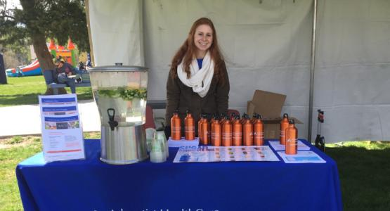 Bonnie Alexander, RD, a dietician and the outpatient diabetes educator at Washington Adventist Hospital, offered fruit-infused water and explained the benefits of drinking water instead of sugary beverages at Washington Adventist University's Family Fun Festival on Sunday.