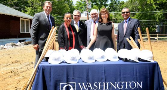 Dave Weigley, WAU Board chairman; Cheryl Kisunzu, WAU provost; Patrick Farley, WAU's executive vice president for finance; Bruce Boyer, WAU board member and benefactor; Gail Boyer, benefactor; and Weymouth Spence, WAU president