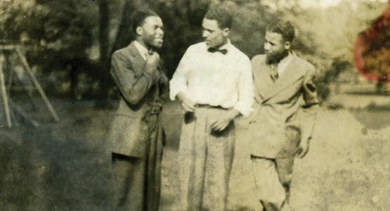 William Wright, Sr., (middle) shares a moment with his brothers Dale (left) and Paul.