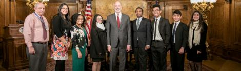 Blue Mountain Academy students and Assist program director Craig Johnson meet with Pennsylvania Governor Tom Wolf