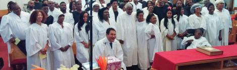 Candidates prepare to be baptized at the Glenville Present Truth church in Cleveland.