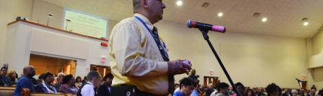 Mountain View Delegate Chris Trent speaks during a business session of the Constituency Meeting