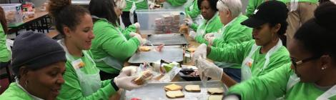 WGTS Hands & Heart Volunteers Make Sandwiches for the homeless.