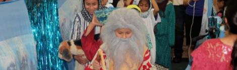 Children re-enact one of several events from the book of Exodus during the recent Hispanic Ministries Children's Festival.