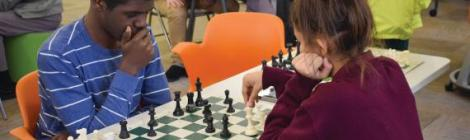 Shemiah Hoppie ('20), plans his next chess move.