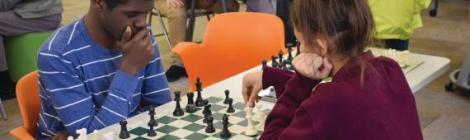 Shemiah Hoppie ('20), plans his next chess move.