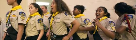 A team from Potomac Conference's Beltsville Pathfinder Club reacts to their placement. Photo by Pieter Damsteegt
