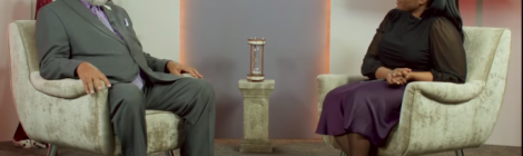 Benia Jennings, Allegheny West Conference's multimedia coordinator, sits with President William T. Cox Sr., to discuss his sermon on the book of Revelation.