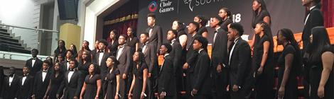 The Takoma Academy Chorale singing during the Mixed Youth Competition inside the Desmond Abernethy Hall in South Africa.