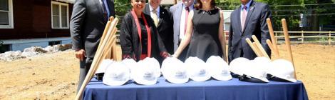 Dave Weigley, WAU Board chairman; Cheryl Kisunzu, WAU provost; Patrick Farley, WAU's executive vice president for finance; Bruce Boyer, WAU board member and benefactor; Gail Boyer, benefactor; and Weymouth Spence, WAU president