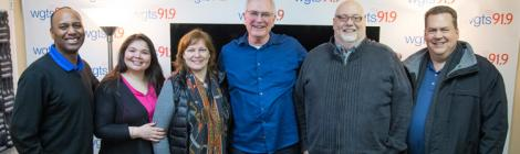 """The WGTS team celebrates a successful """"Days of Compassion"""" event. Left to right:  WGTS AM Show hosts Jerry Woods & Blanca Vega, WGTS Midday host Becky Alignay, Compassion's Mark Hollingsworth, Sharemedia's Dave Kirby, WGTS general manager Kevin Krueger."""