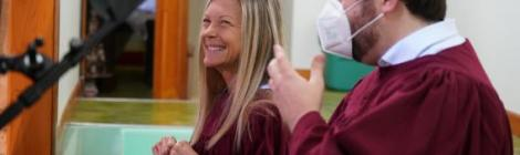 """""""When the world pushed pause, I realized something was missing,"""" says Nicole Johnson, pictured smiling prior to her baptism."""