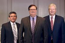At the 42nd Regular Constituency Meeting of the Ohio Conference, delegates elected President Ron Halvorsen Jr. (pictured center), Secretary Oswaldo Magaña (left), and elected Michael D. Gilkey (right) as treasurer and CFO.