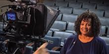 Debra Anderson, communication director for the Potomac Conference, is filmed for one of the communication videos.
