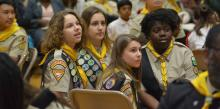 Members of the Charleston Pathfinder club participate in the Columbia Union Conference Pathfinder Bible Experience event at Blue Mountain Academy. Photo by Lilac Martinez