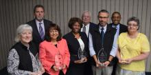 Columbia Union Conference Executive Leadership (back row) Dave Weigley, Rob Vandeman and Seth Bardu honor the 2016 Notable Persons of Honor (front row) Marilyn Peeke, Sahilys Fuentes, Minnie McNeil, Tim Engelkeimer and Pam Scheib