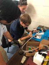 HVA STEM student Ian Voorhees ('22) does preliminary work on the High Altitude Balloon project.