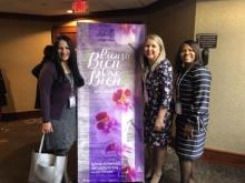 Cesia Alvadaro Zemleduch, guest speaker from Mexico; Lilia Torres, Women's Ministries director for the New Jersey Conference; and Olgath Thorp, Women's Ministries sub-director, spend the women's retreat in fellowship.